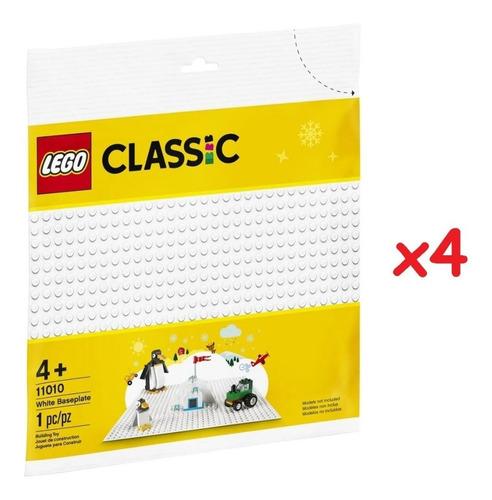 kit com 4 placas base lego branca - lego classic