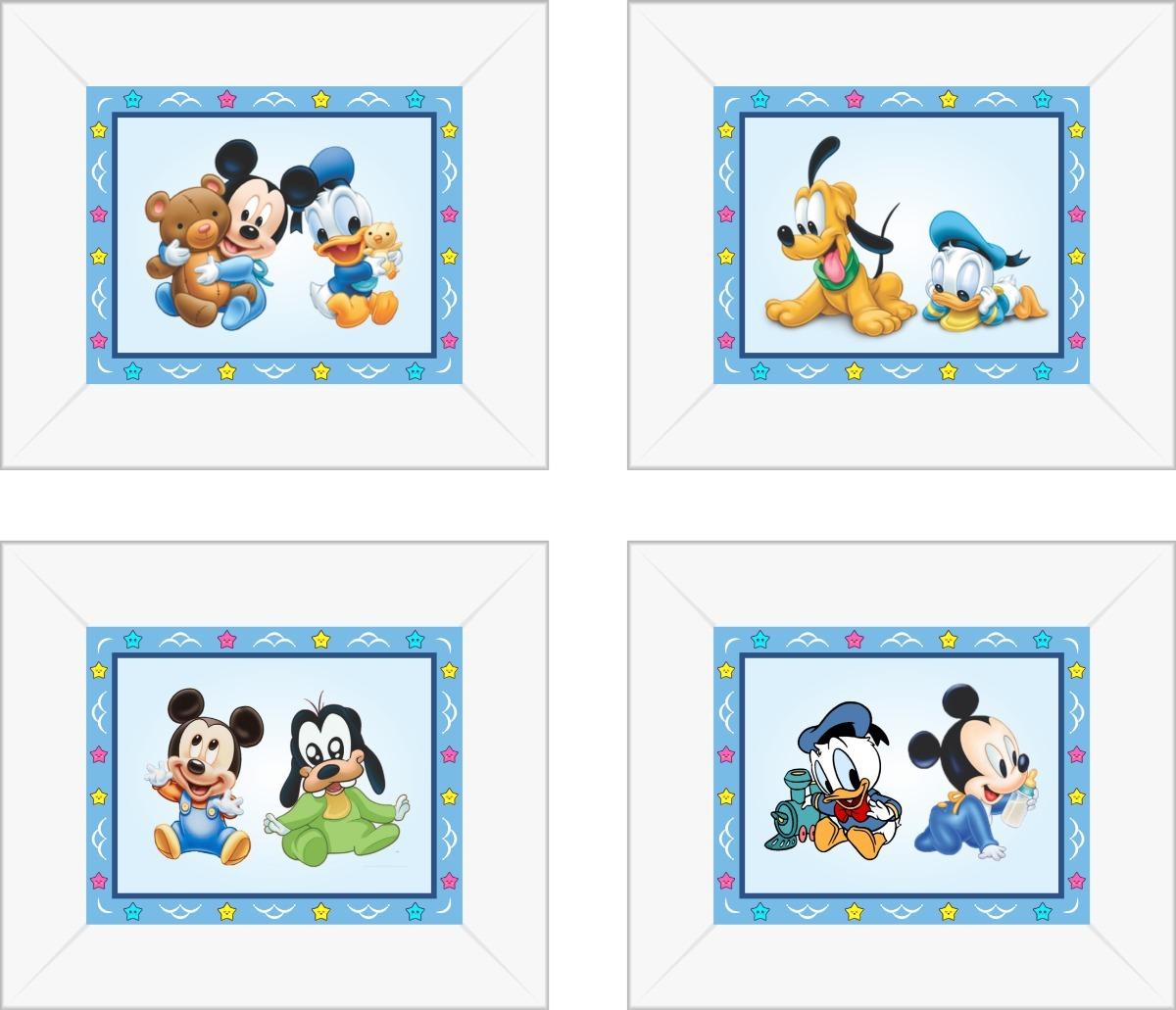 fbb3d4b6c Kit Com 4 Quadros Infantis Quarto De Bebe Mickey Baby Azul - R  149 ...