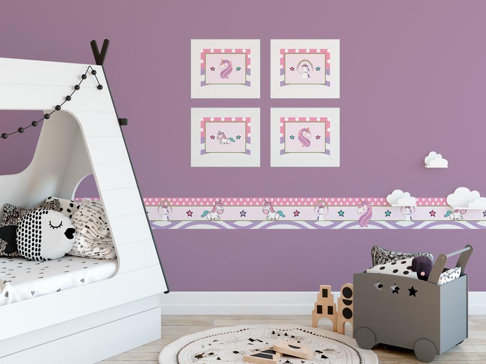 102f49143 kit com 4 quadros infantis quarto de bebe unicórnio. Carregando zoom.