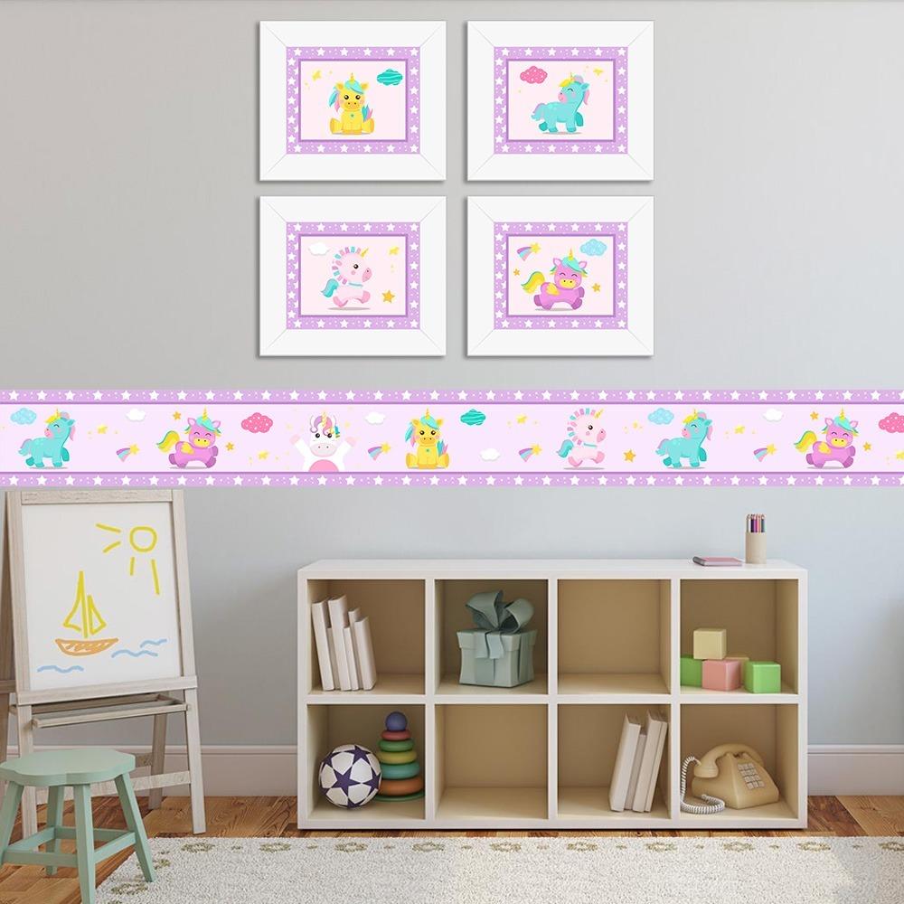 3ed8c0b56 kit com 4 quadros infantis quarto de bebe unicórnio baby lil. Carregando  zoom.