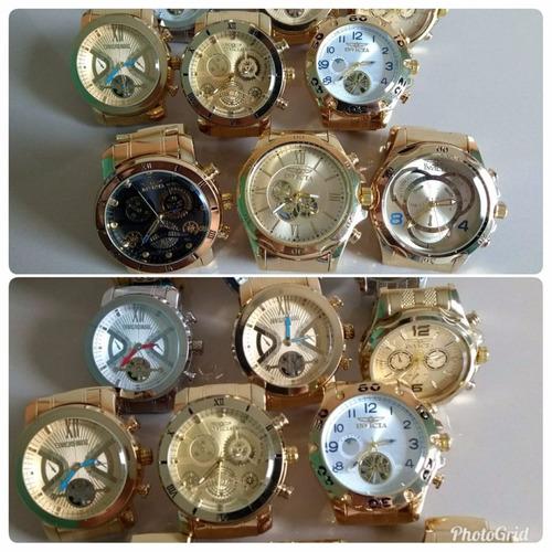 kit com 4 relógios masculino luxo + caixa atacado promoção