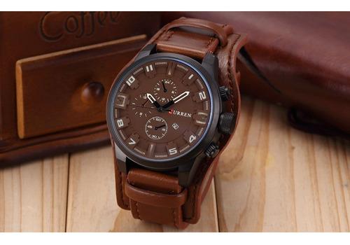 kit com 4 relógis curren original de alta qualidade em couro