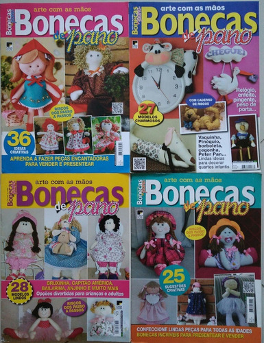 kit com 4 revistas bonecas de pano. faça, venda e lucre!