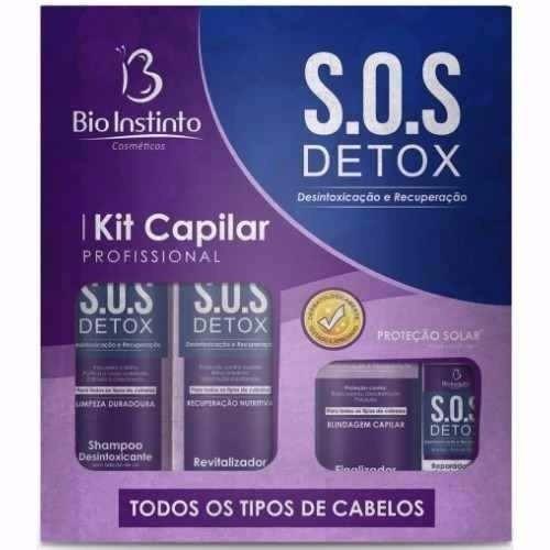 kit com 4 sos detox capilar bio instinto + brinde