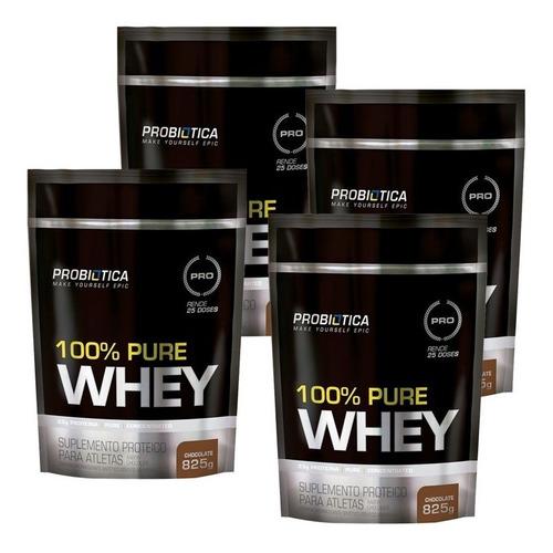 kit com 4 uni 100% pure whey 825g refil - probiotica