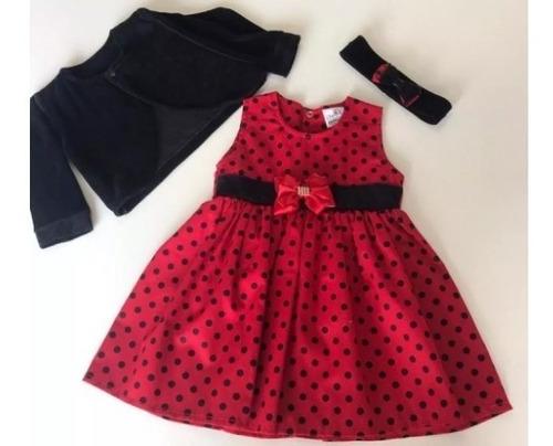 kit com 4 vestidos de bebe c/ bolero e tiara 100% algodão