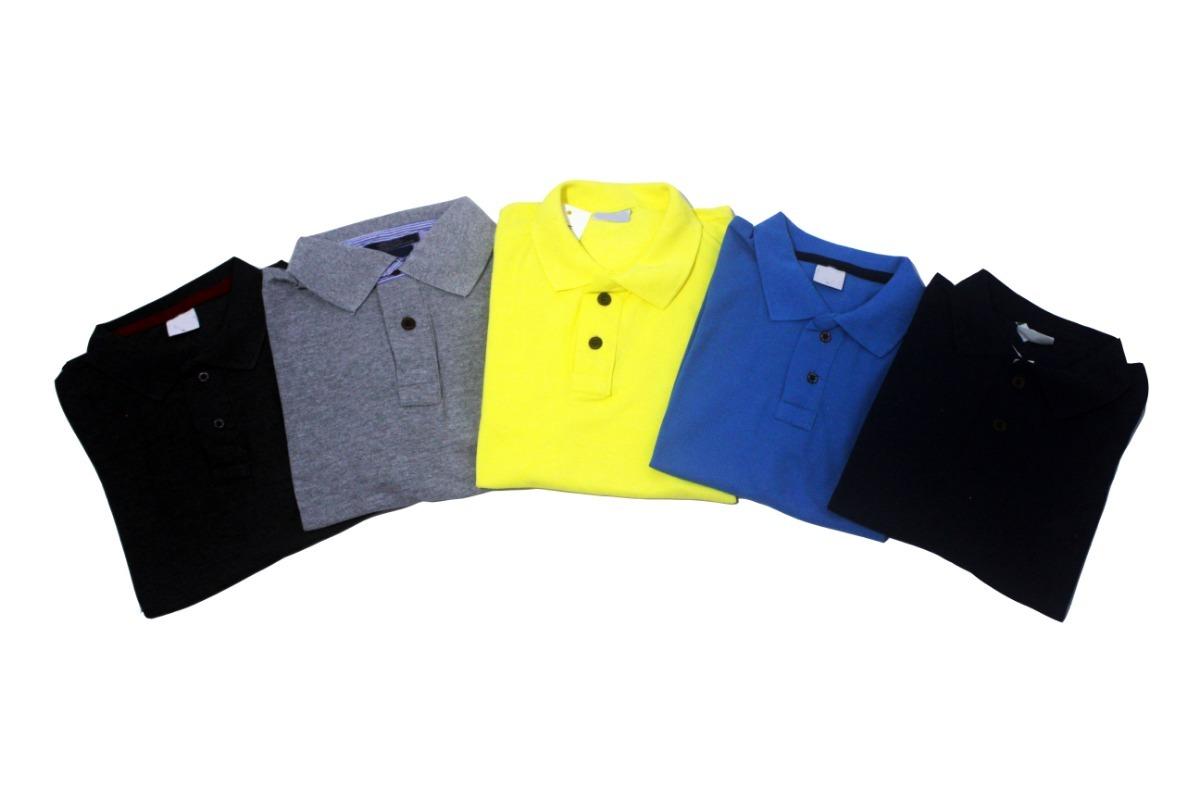 kit com 5 camisas gola polo masculinas piquet cores variadas. Carregando  zoom. 45b89e66d5731