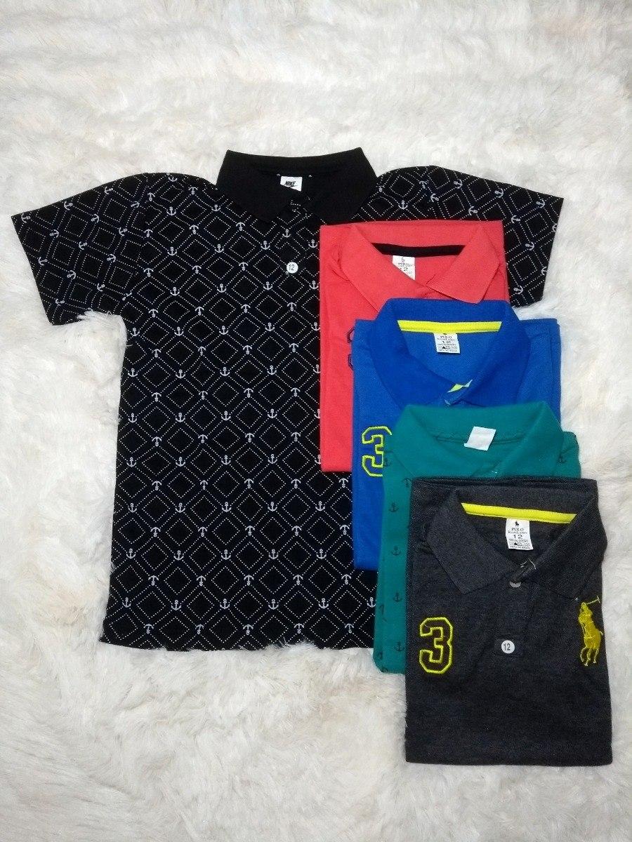 kit com 5 camiseta polo infantil camisa masculina menino. Carregando zoom. 84dfd4eaecb45