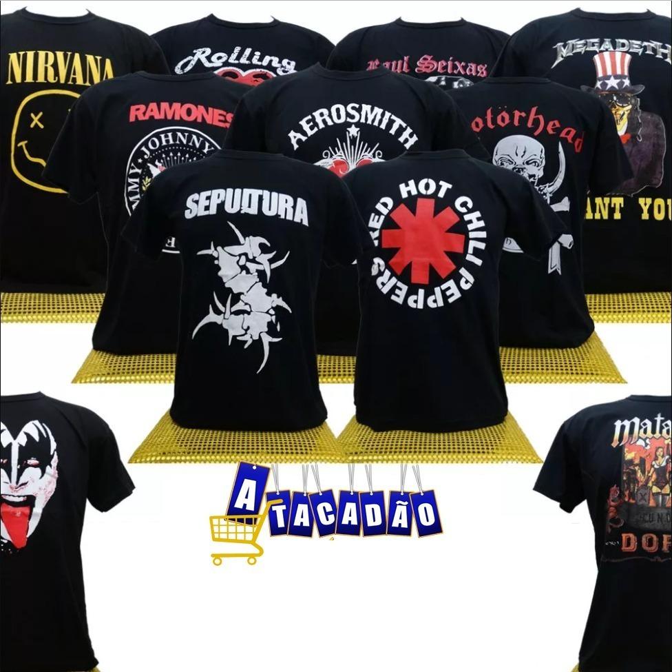 8d12173bc6 Kit Com 5 Camisetas - Bandas De Rock - Atacado - Em Promoção - R  61 ...