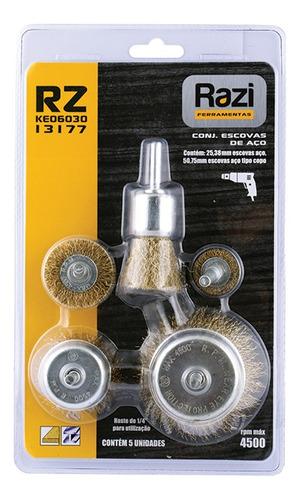 kit com 5 escovas de aço para furadeira razi - 13177