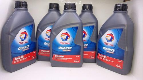 kit com 5 l óleos 15w40 total quartz 7000 sm semi sintético