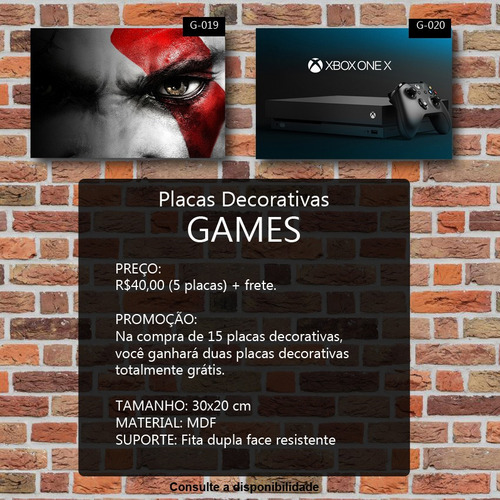 kit com 5 placas decorativas games retro games 30x20cm mdf
