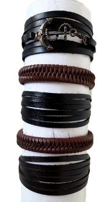 kit com 5 pulseiras de couro legítimo vário modelos