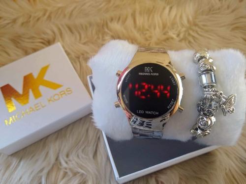 kit com 5 relogios feminino digital + caixinhas e pulseiras