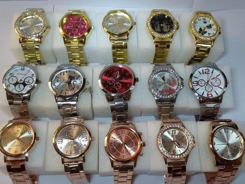 kit com 5 relógios feminino dourado lote atacado revenda