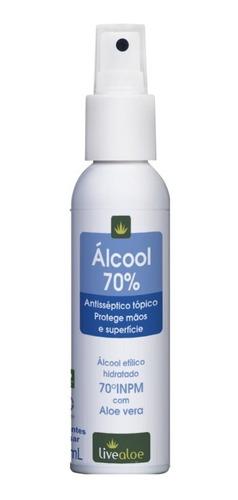 kit com 5 unidade álcool 70% antisséptico live aloe vera