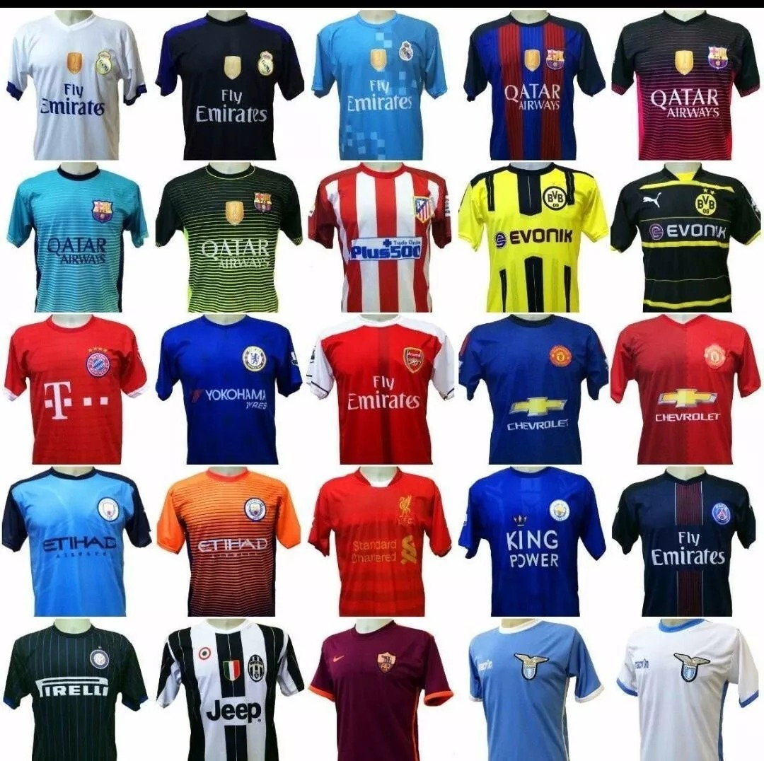 3e9babbf507ad Kit Com 5 Unidade Camisetas De Times Europeus E Seleçoes - R  100