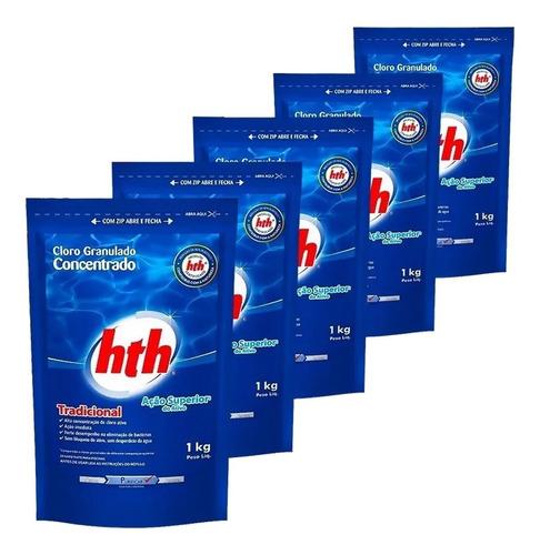 kit com 5 unidades conjunto refil cloro para piscina hth