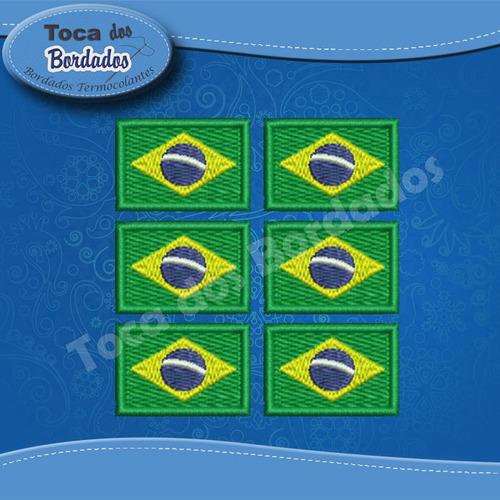 kit com 50 pçs micro bandeira do brasil bordada 2x3cm patch