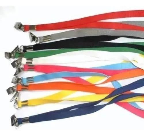 kit com 5cd clip retrátil roller clips + cordao para crachas