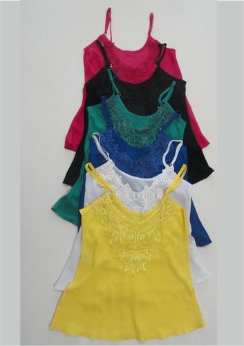 kit com 6 blusas de alça feminina viscose com renda guipir