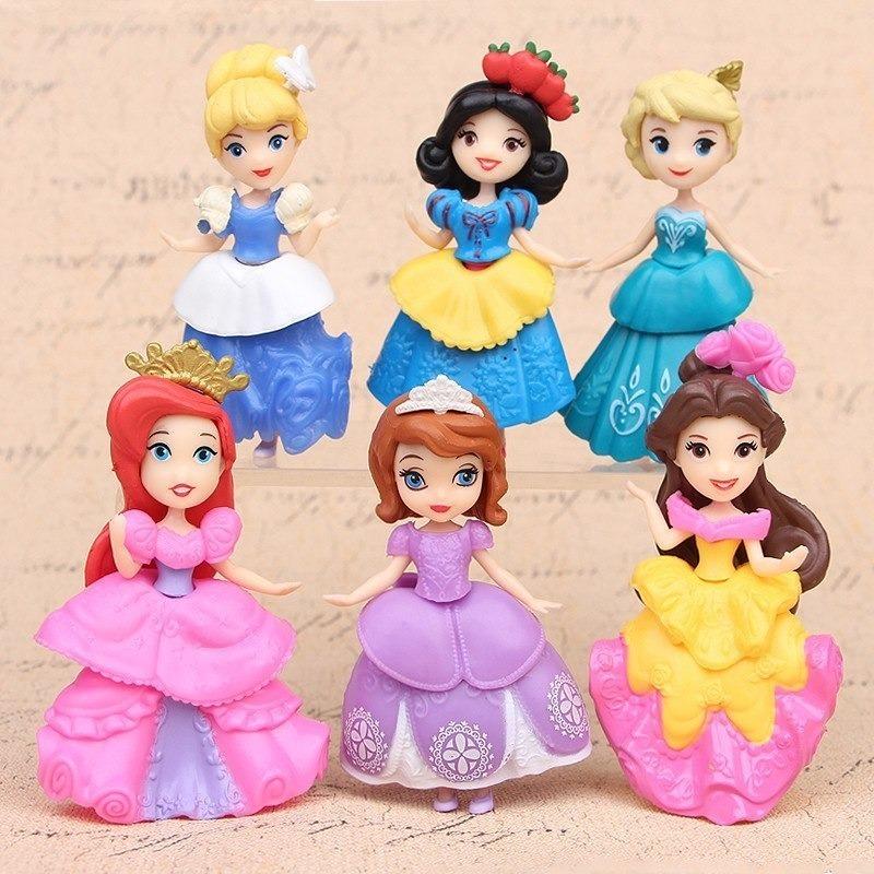 Kit Com 6 Bonecas Princesas Disney Desenhos Pronta Entrega R