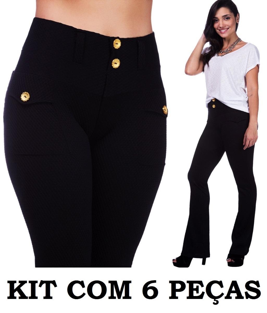 40b8bdd98 Kit Com 6 Calças Flare Bailarina Boca Sino Textura Relevo - R$ 252 ...