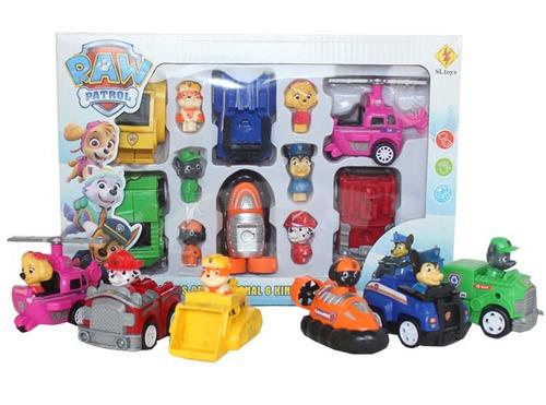 kit com 6 carrinhos patrulha canina de fricção festa boneco