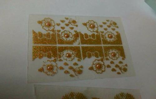 kit com 6 cartelas de películas p/ unhas gliter liz