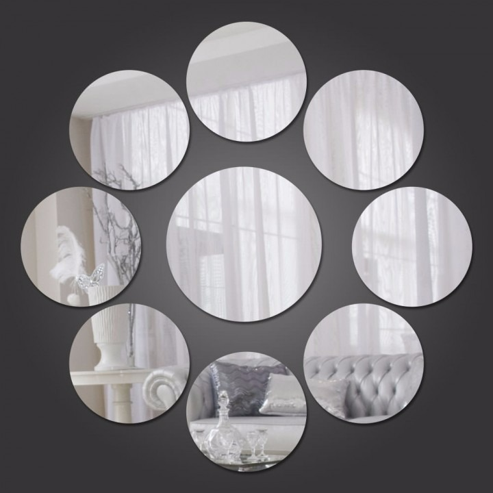 Kit Com 6 Espelhos Decorativos Casa Quarto Sala - Círculos - R 79 ...
