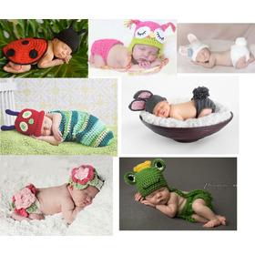 Kit Com 6 Newborns Menino E Meninas Conjuntos Toucas Crochê