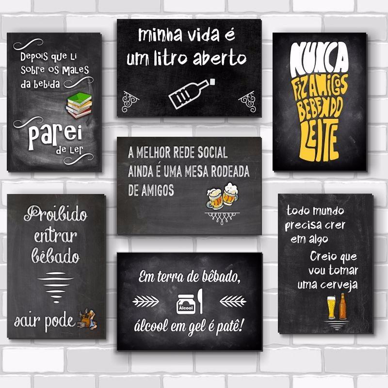 Kit Com 6 Placas Decorativas Frases Engraçadas De Boteco Bar