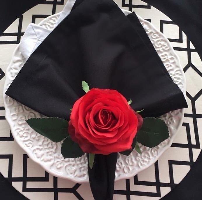 da0d521a71 Kit Com 6 Porta Guardanapos De Flor Rosa Vermelha - R  90