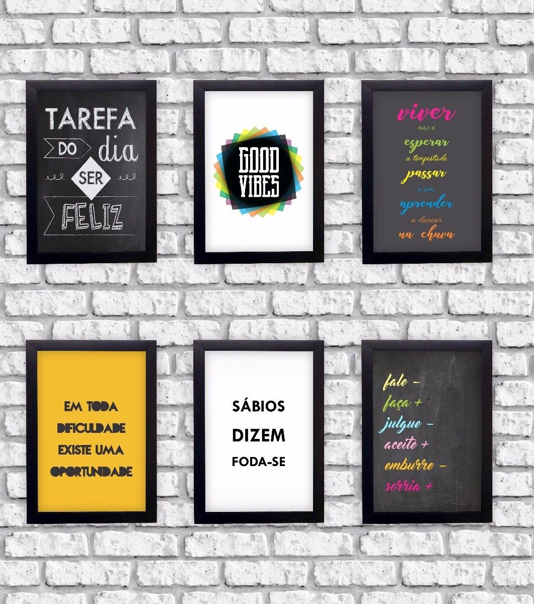 Kit Com 6 Quadros Decorativos Frases Motivacionais Moldura