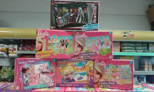 kit com 6 quebra - cabeças monster high polly e barbie