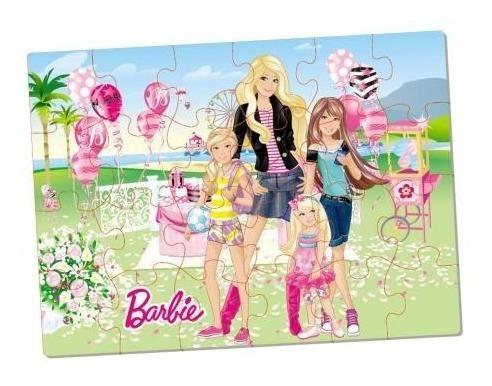 kit com 6 quebra - cabeças polly barbie e monster high