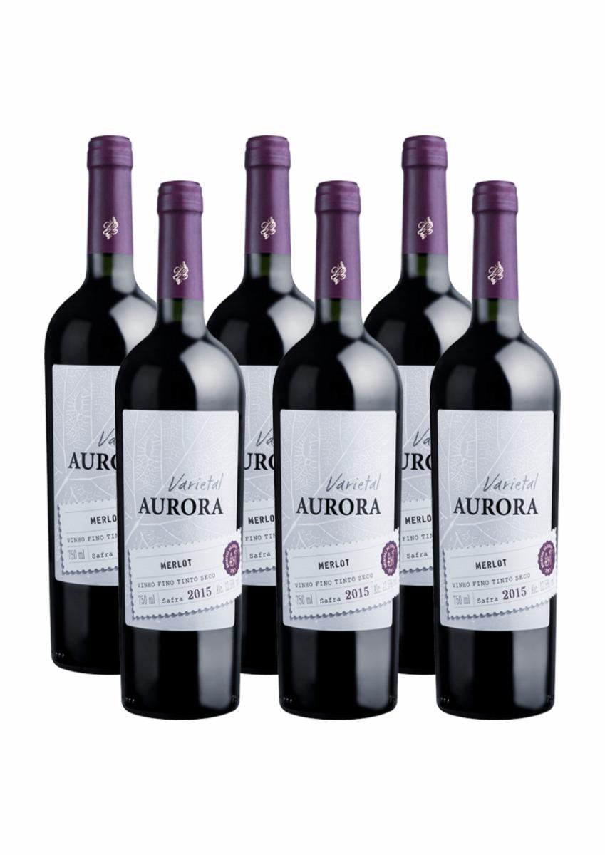 37713eecd kit com 6 vinho aurora tinto varietal merlot 2018 - barato. Carregando zoom.