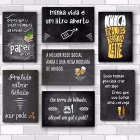 Kit Com 7 Placas - Mdf - 30x20cm - Frases De Boteco Cerveja