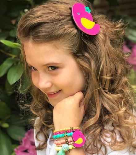 kit com 72 pulseiras infantil+12 presilhas de cabelo