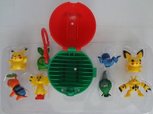 kit com 8 bonecos pokemon go plus miniatura + pokebola