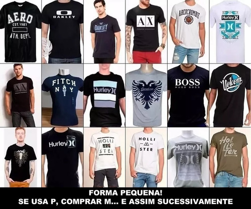 kit com 9 camisetas camisa masculina diversas marca famosas