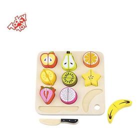 Kit Com 9 Frutas Velcro Para Cortar Com Faca E Tábua