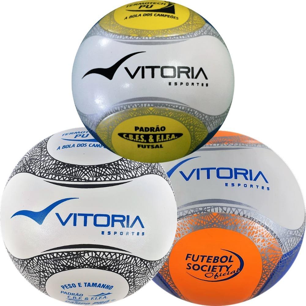 a7cbfb6099bb1 Kit Com Bolas 1 Society 1 Futebol De Campo 1 Futsal Oficiais - R ...