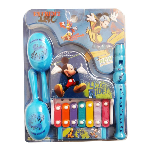 kit com instrumentos musicais infantil 7 peças mickey disney