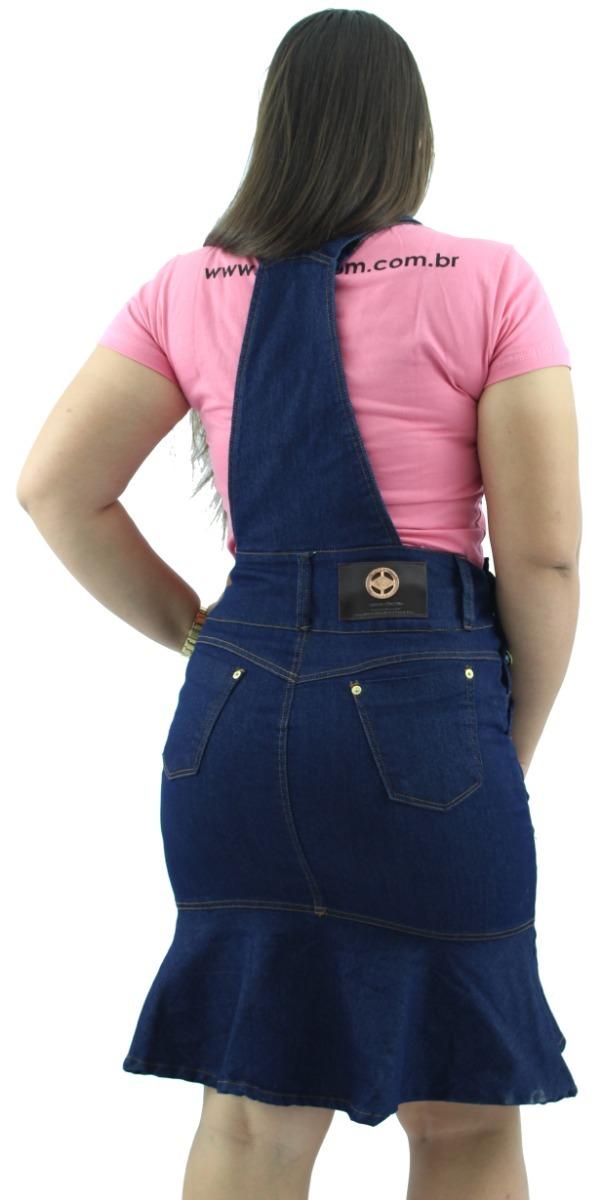df7d05aa5 Kit Com Jardineira Jeans Babado + Vestido Jeans Tubinho - R$ 156,00 ...