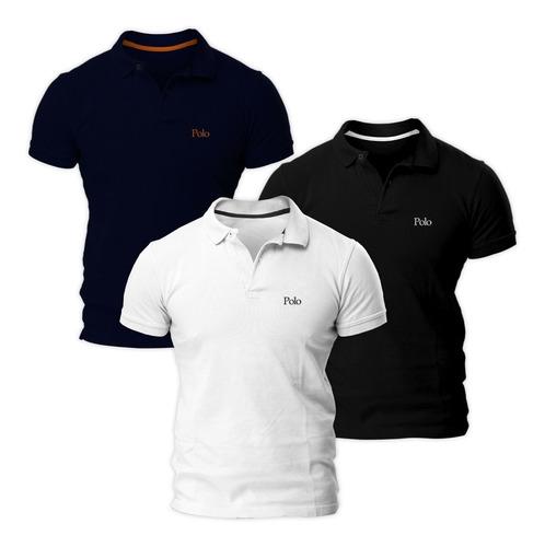 kit com três camisas polo básica piquet slim - polo match