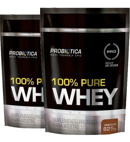 kit combo 2 100% pure whey protein refil 825g probiótica