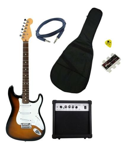 kit combo guitarra electrica + amplif + accesorios + estuche