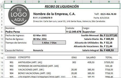 kit combo nomina calculos salariales rrhh pymes lottt excel+