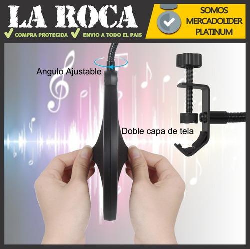 kit combo shock mount araña + filtro anti pop radio locucion